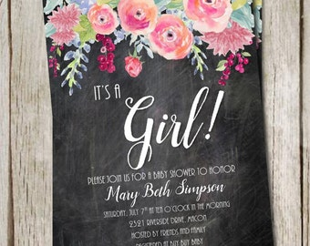 DIY Printable Baby Shower It's a Girl | Whimsical Design | Flowers and Chalkboard background | Elegant