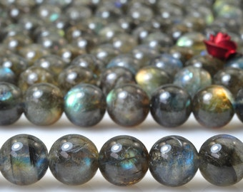 56 pcs of A Grade--Natural Labradorite smooth round beads in 7mm (4#)