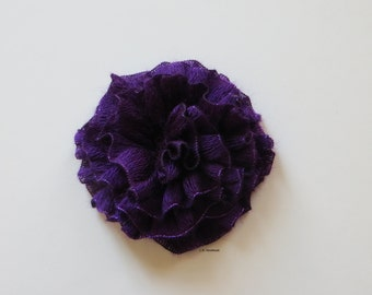 Flower Brooch, Crochet flower pin,  Scarf pin, Lapel pin, Hat brooch,Fashion, Brooches, Purple