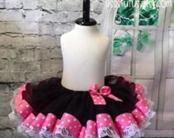 Pink and black tutu, pink tutu, Black tutu, polka dot tutu, pink and lace tutu, pink lace tutu, smash cake tutu, pink birthday tutu
