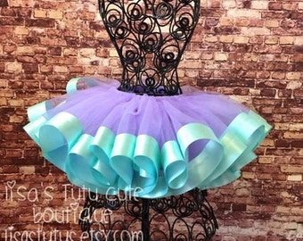 Lavender and aqua tutu. Lavender tutu. Lavender tulle skirt. Ribbon trimmed tutu. Lavender wedding. Easter tutu. cake smash, cake smash tutu