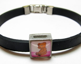 Teddy Bear Baby Girl Pink Link With Choice Of Colored Band Charm Bracelet
