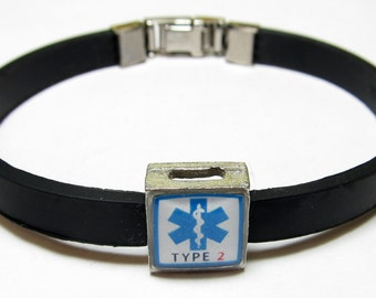 Blue Diabetic Type 2 Medical Alert Link With Choice Of Colored Band Charm Bracelet