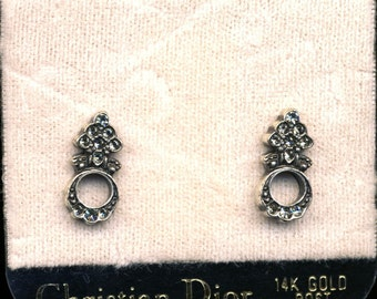 Signed Christian Dior Pave Crystal Post Earrings New