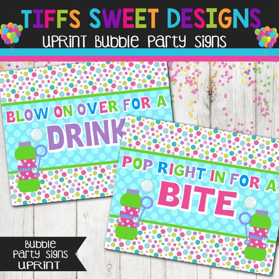 Bubbles Birthday Party Signs