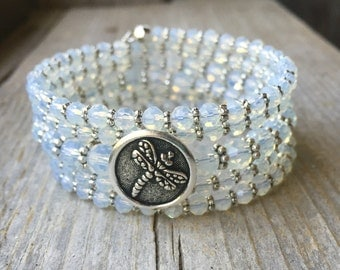 Opalite Gemstone Multi Strand Memory Wire Bracelet With Dragonfly Button