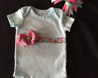 Sweet Little Onesie with bow and Matching Headband Bow