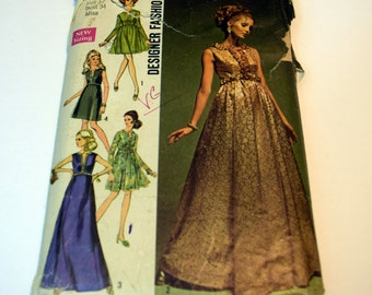 Vintage 1960s Simplicity 8497 Designer Fashion Misses evening dress with two skirts in different lengths