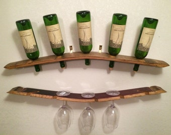 Wall wine and glass rack
