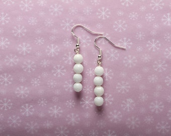 White Colour Dyed Quartz Earrings