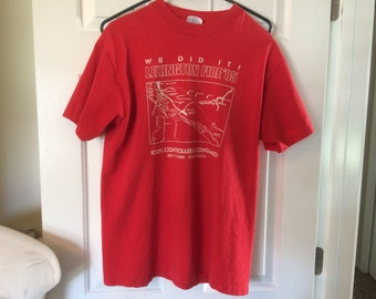 Vintage Wildland Firefighter T-shirt - 1985 Lexington Fire (Los Gatos, California) - red cotton with white print - good used condition
