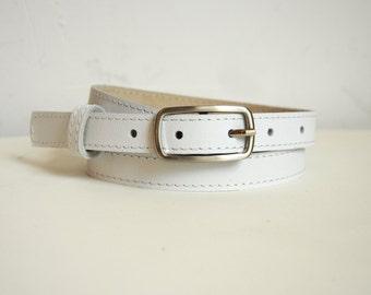 Leather belt for women, White leather belt, Narrow belt, ALL SIZES