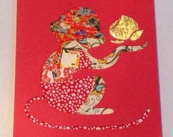Monkey, Chinese New Year Card
