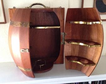 Mid Century Modern Wood Wall Mounted Wine Barrel Hanging Mini Bar Liquor Cabinet