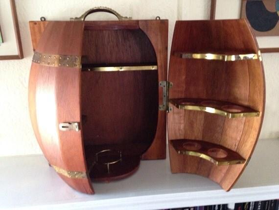mid century modern wood wall mounted wine barrel hanging mini. Black Bedroom Furniture Sets. Home Design Ideas
