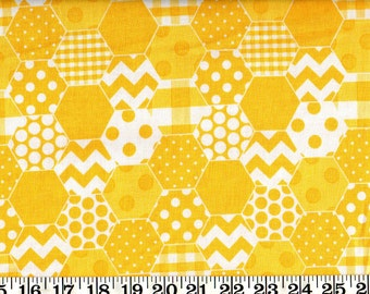 SALE! Riley Blake Cotton Fabric Hexi Yellow By the Yard #560-8
