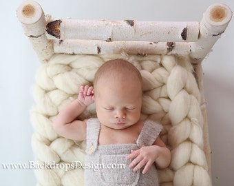 Birch Log bed Newborn photography prop Cristmas log bed  READY TO SHIP!   hand made white  bed