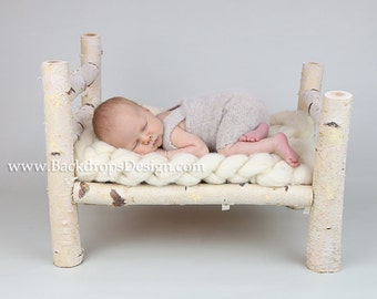 Birch Log bed Newborn photography prop  hand made white  bed photography prop