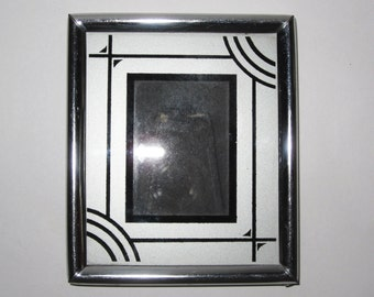 Small Miniautre Art Deco Picture Frame Silver with Black Line Details
