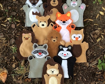 Woodland Animal Puppet Set - Adult, Kid, AND Finger Puppet Sizes