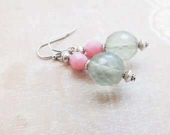 Blush Pink Green Earrings - Colorful Earrings- Spring fashion- Spring earrings- Silver dangle Earrings - Spring weddings