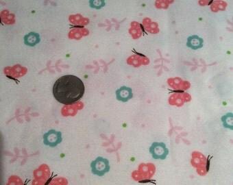 Pink butterfly flannel fabric, flower flannel fabric, butterfly fabric