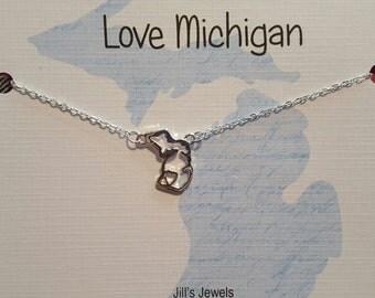 Michigan heart cutout necklace - Michigan Charm Necklace - Michigan Home Necklace - Love Michigan - Michigan Jewelry -  Michigan Pendant