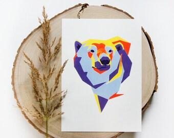 Polar bear Geometric Illustration Print on a4 & a3 size