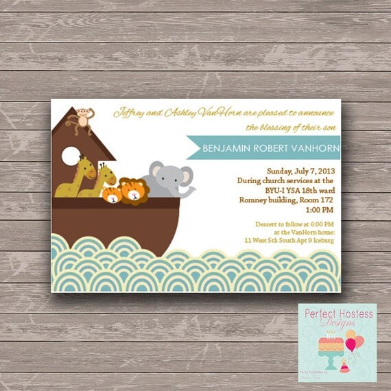 noah 39 s arch baby shower blessing invitation