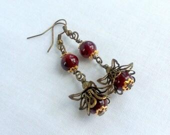 Dark red Earrings, Dangle Earrings, red flowers lolita kawaii earrings goth earrings Drop berry earrings, Spring gift, Gift For Wife for her