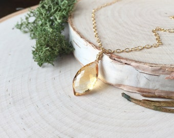 SALE! Stunning, AAA Citrine Briolette Pendant with 14K Gold Fill Dainty Chain, Citrine Pendant, Drop Pendant, Birthstone Necklace