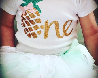Luau First Birthday Outfit | Pineapple 1st Birthday Outfit for Baby Girls | Fruit Birthday | Baby Luau Outfit | Pineapple Birthday