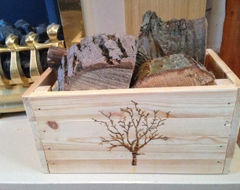Nice Wood Log Kindling Storage Box Crate Solid Pine Handcrafted And Decorated  Great Log Decor Feature