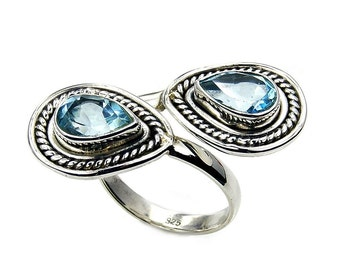 Blue Topaz & .925 Sterling Silver Ring Size 7 (Adjustable) , AA594 , AA657, AA658