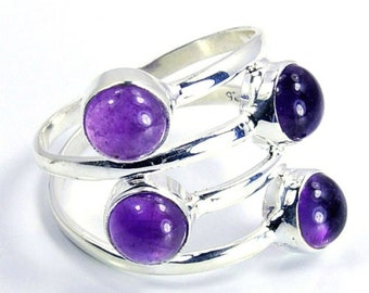 Amethyst & .925 Sterling Silver Ring Size 8 Jewelry , M219