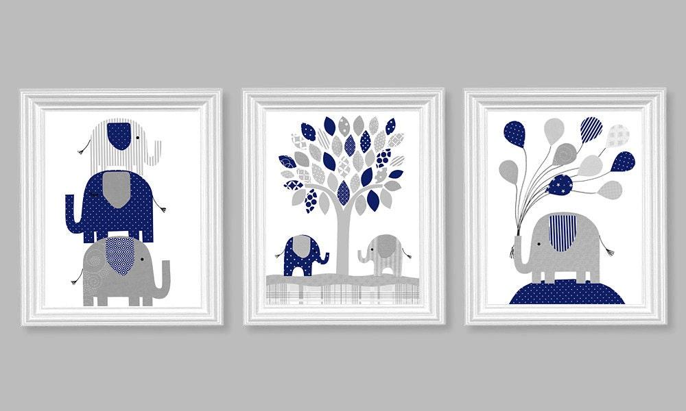 Elephant Nursery Decor Navy Blue and Grey Gender Neutral