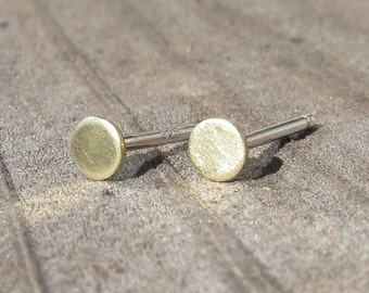 Small Round Brass Stud Earrings