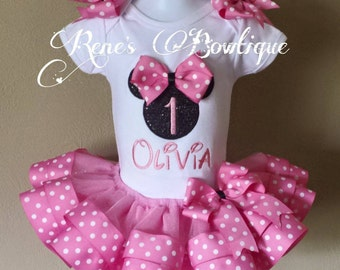 Minnie Mouse Birthday Ribbon Tutu Set | Birthday Party Outfit | Pink and Black Minnie Mouse