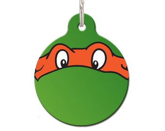 Orange Ninja Turtle Pet ID Tag | FREE Personalization