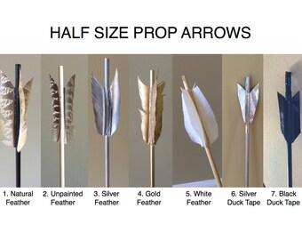 Half Size Prop Archery Arrow; Short Costume Arrow, Black Arrow, Silver Arrow, Feathered Arrow, Arrow Costume Prop, Prop or Costume Arrows