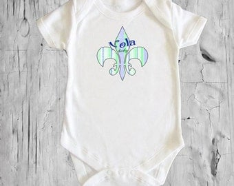 Fleur de Lis Pink or Blue Green Strip Nola Baby White onsie Snap bottom all in one bodysuit