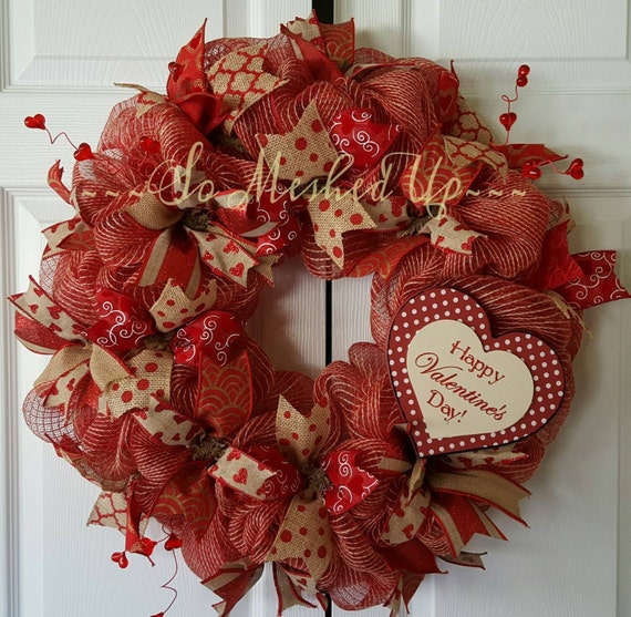 burlap jute mesh valentine 39 s day wreath soft natural and. Black Bedroom Furniture Sets. Home Design Ideas