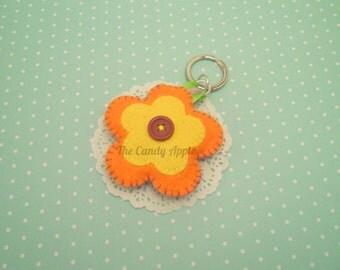 Padded Felt Flower Keychain