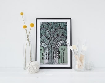 Hand-drawn, Chrysler Building, NYC, travel illustration, archival quality art print, 8x10, watercolour, pen and ink