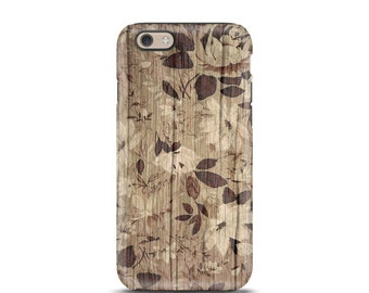 Floral iPhone 6 case, iPhone 7 case, iPhone 7 Plus case, iPhone 5 case, iPhone 5s case, tough iphone case, phone case, iphone case - Wood