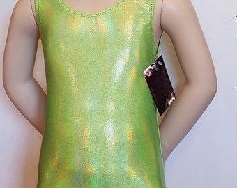 Gymnastics Leotard, Girls Sizes 2 to 12 Reflective Lemon Lime Hologram Gymnastics and Dance Leotard