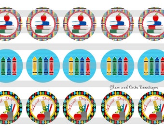 """Back to School / Crayons INSTANT DOWNLOAD Bottle Cap Images 4x6 sheet 1"""" circles"""