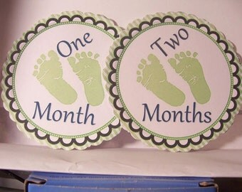 """Baby Milestone Photo Prop Cards- 1-12 months old- 5"""" round-Not stickers-Baby green feet-"""