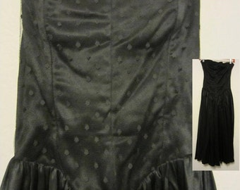 Strapless Black Charmeuse & Lace Cocktail Dress, Vintage 80's Katie MFG Prom Dance Cocktail Dress, Retro Beauty with Comfort Easy to Wear