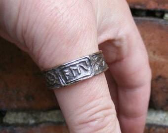 Runic ALU Bronze Ring Heathen Runes by the Green Man